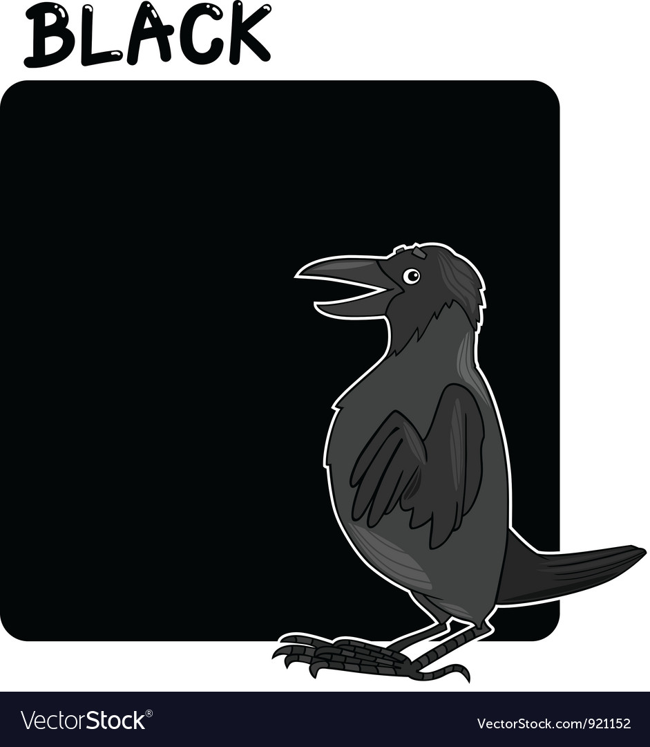 Color black and crow cartoon vector | Price: 1 Credit (USD $1)