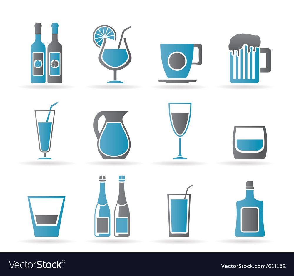Different kind of drink icons vector | Price: 1 Credit (USD $1)