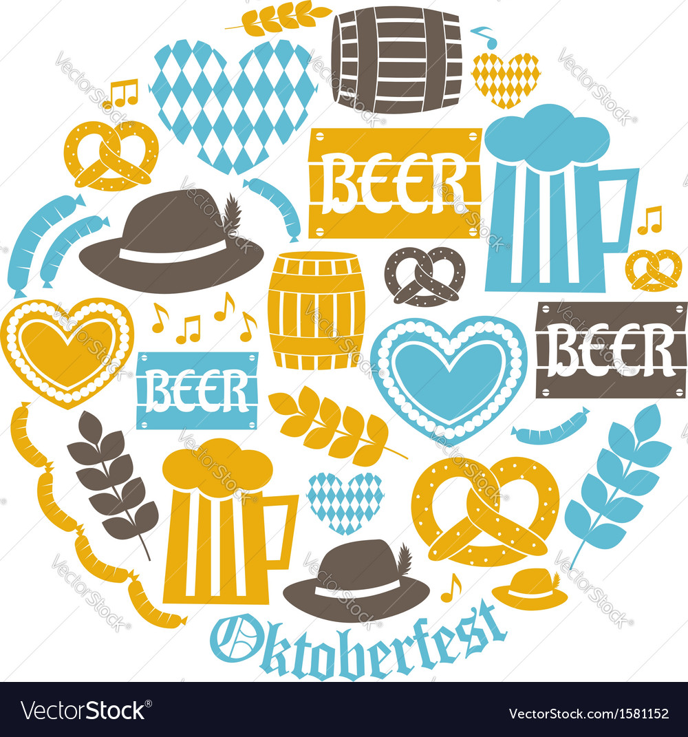 Flat design oktoberfest icons in blue and yellow vector | Price: 1 Credit (USD $1)