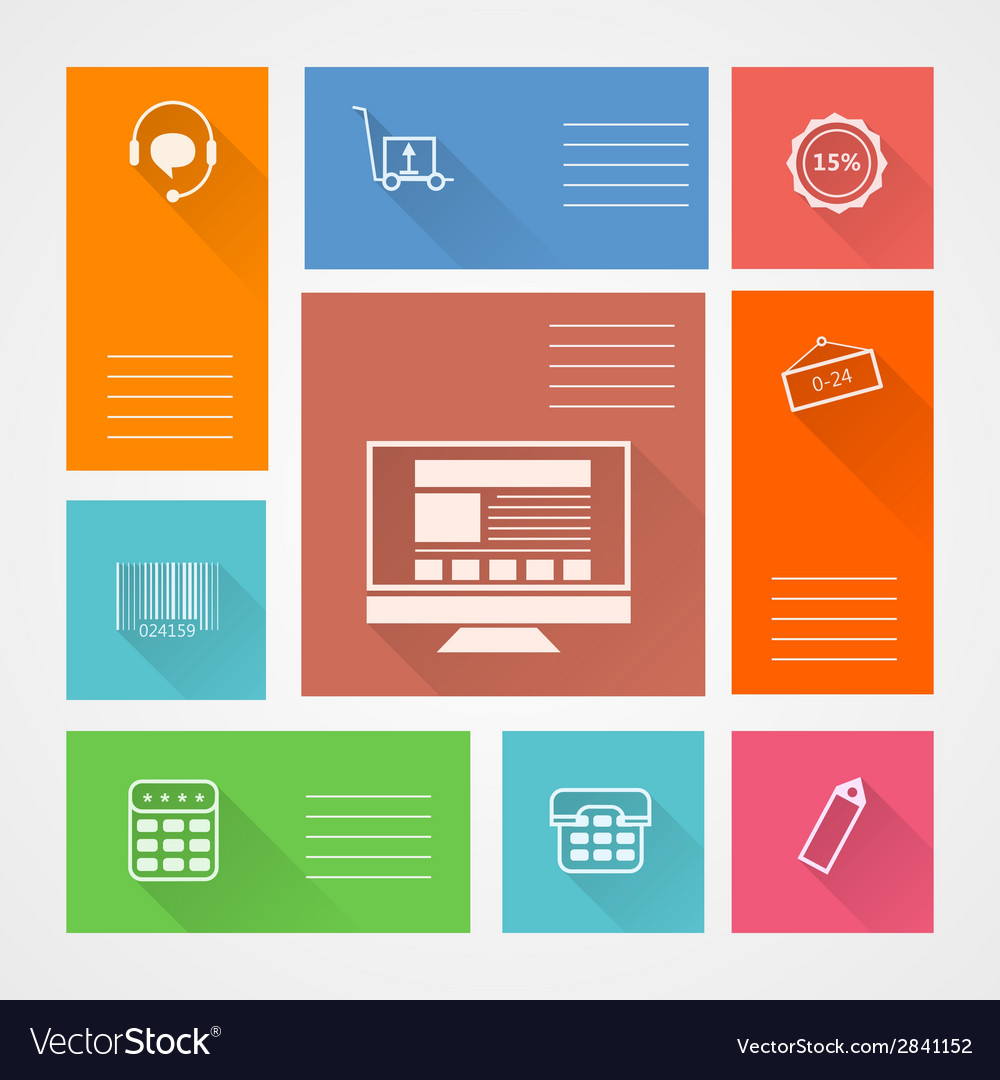 Flat square icons for web store vector   Price: 1 Credit (USD $1)