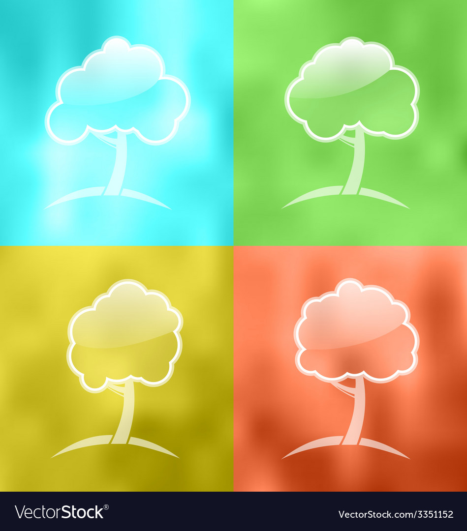 Four seasonal icons with trees - vector | Price: 1 Credit (USD $1)