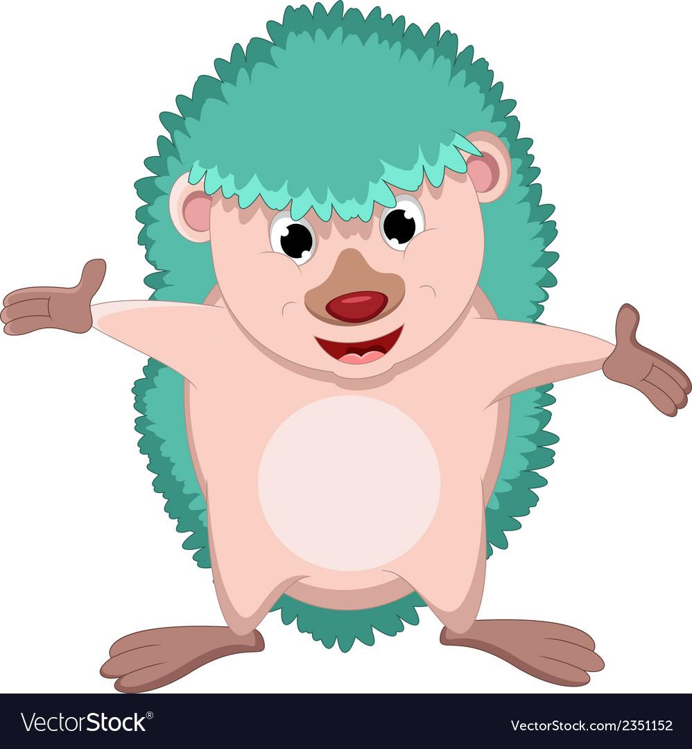 Happy hedgehog cartoon vector | Price: 1 Credit (USD $1)