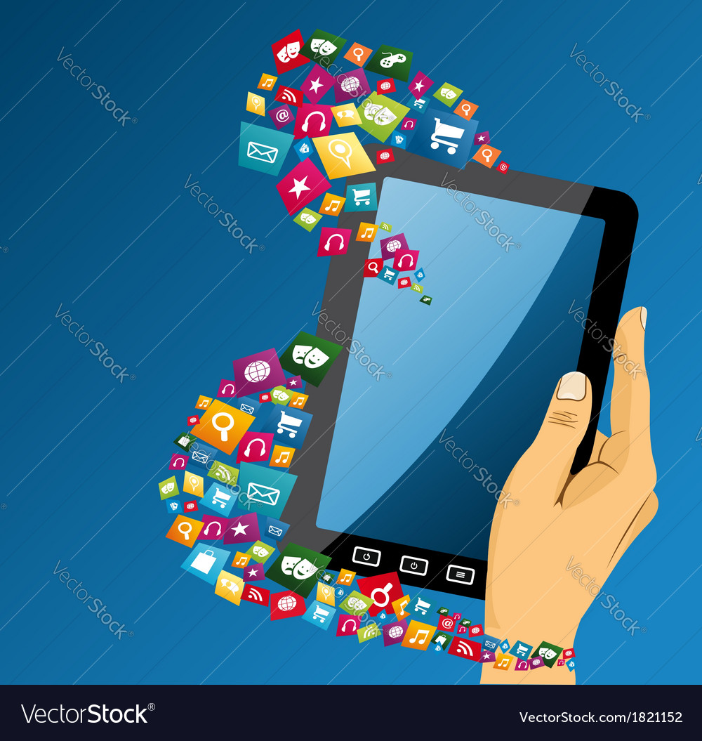 Human hand with tablet pc social media icons vector | Price: 1 Credit (USD $1)