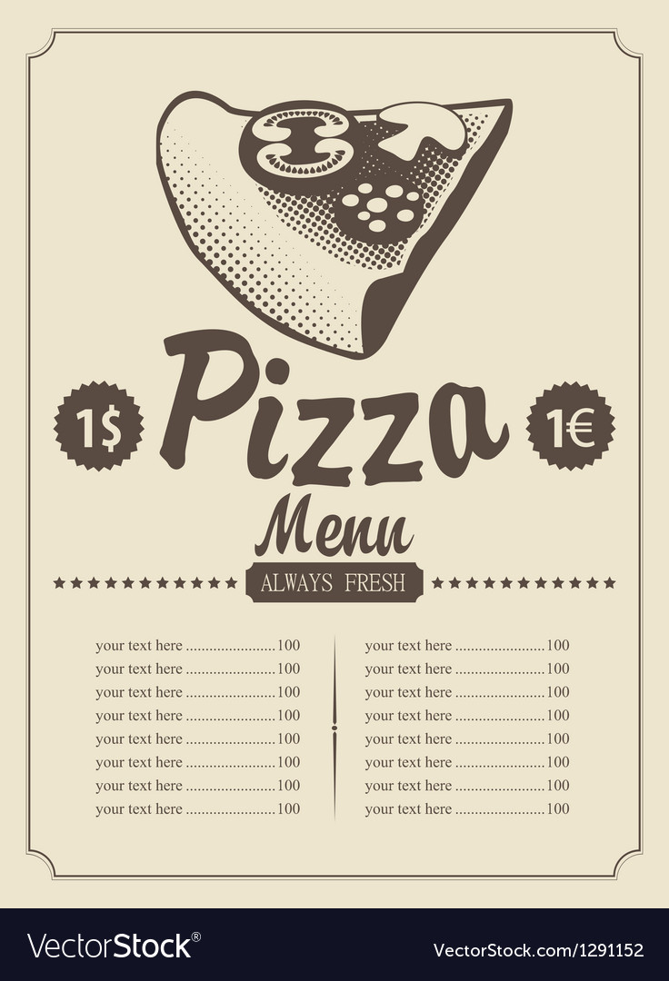 Menu with pizza vector | Price: 1 Credit (USD $1)