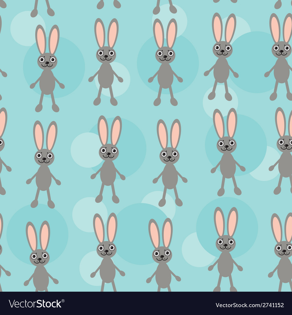 Seamless pattern with funny cute rabbit animal on vector | Price: 1 Credit (USD $1)
