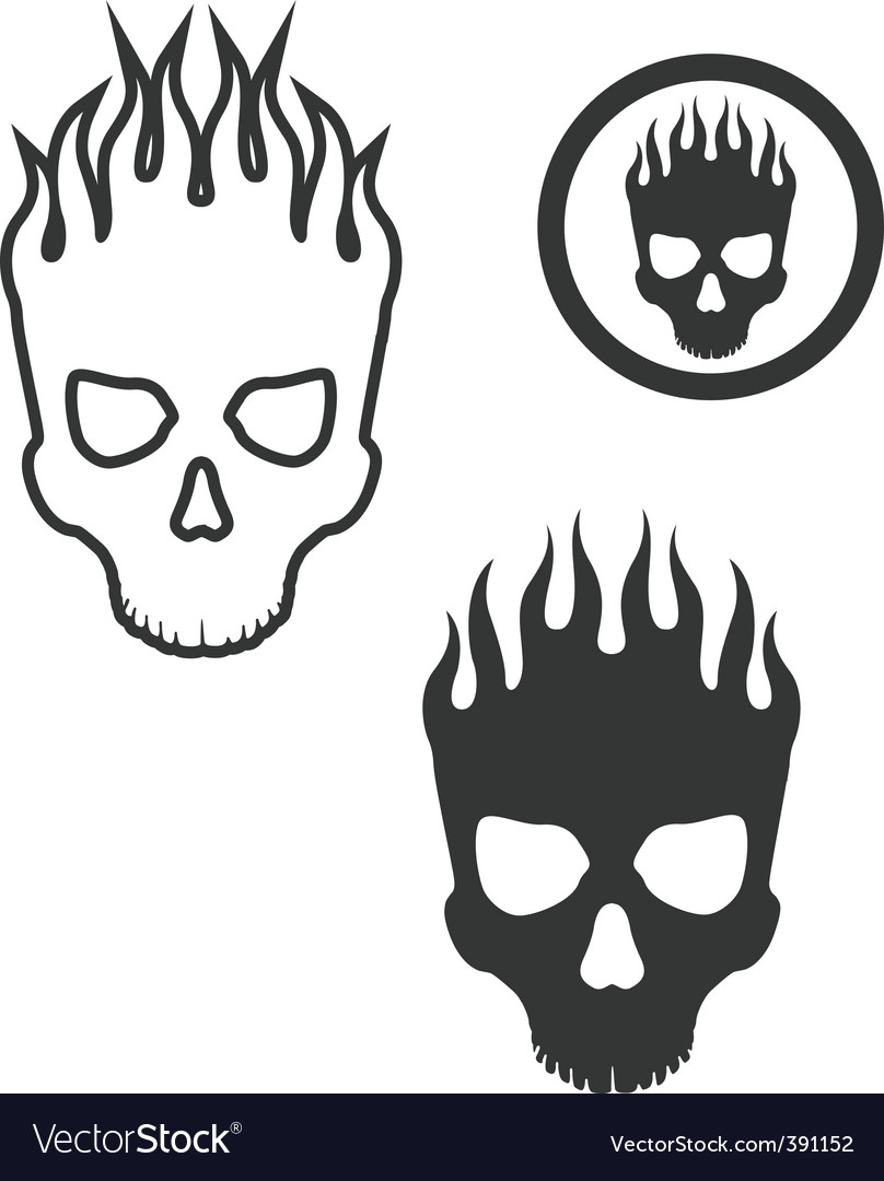 Skull on fire vector | Price: 1 Credit (USD $1)