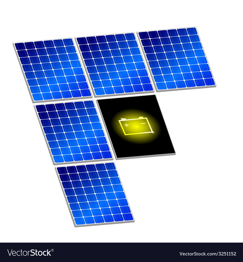 Solar panel with battery vector | Price: 1 Credit (USD $1)