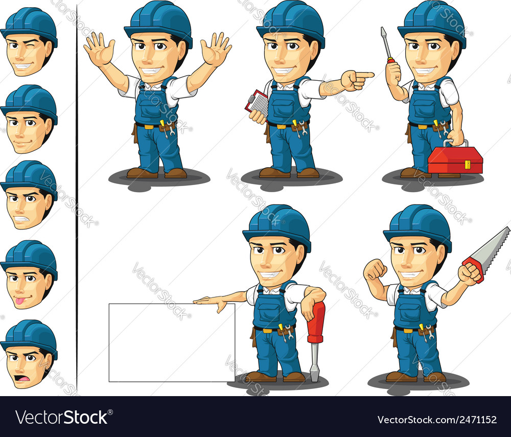 Technician or repairman mascot 2 vector | Price: 1 Credit (USD $1)