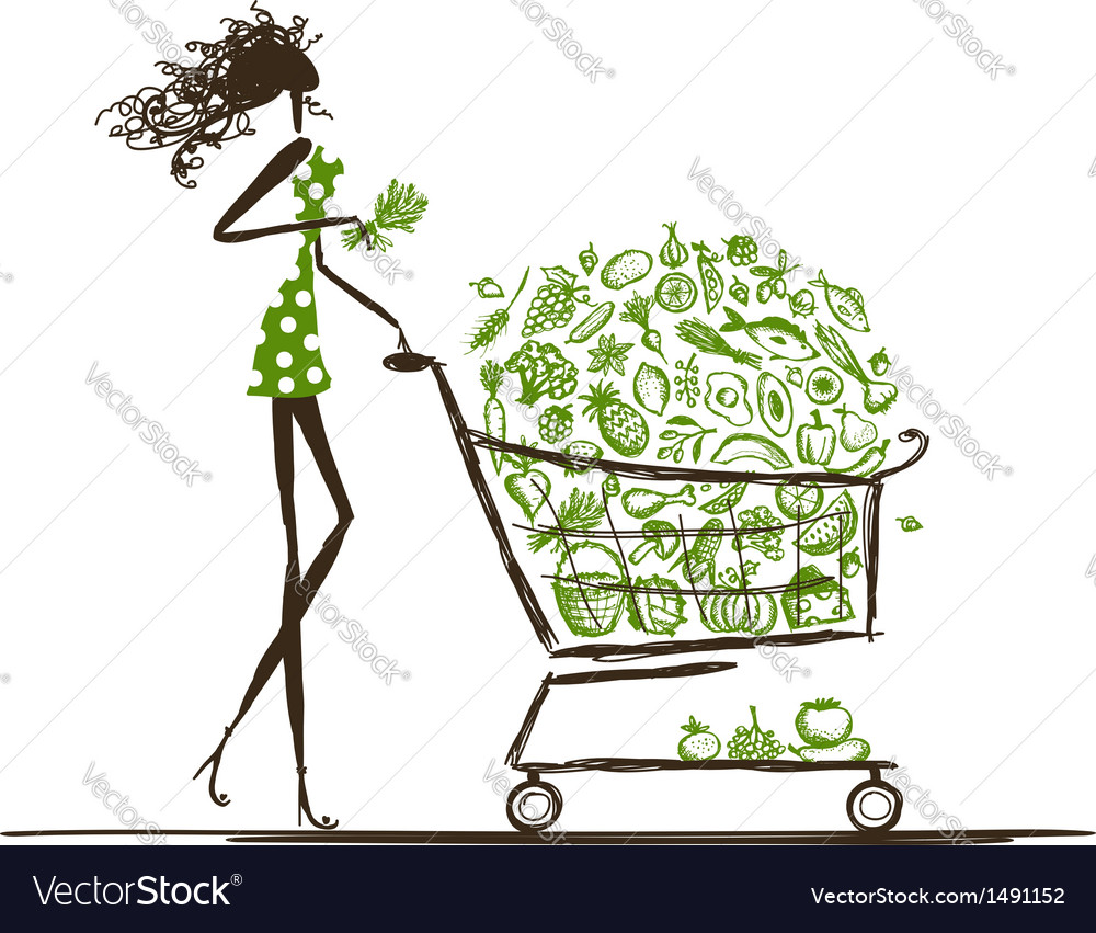 Woman shopping with food trolley in supermarket vector | Price: 1 Credit (USD $1)