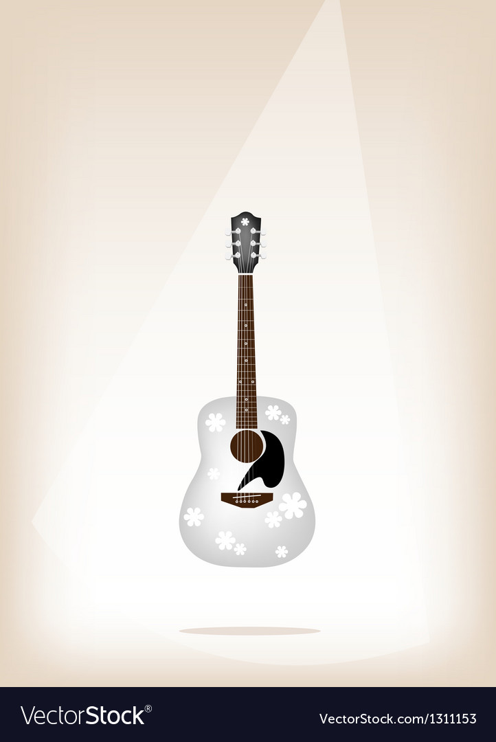 A beautiful white guitar on brown stage background vector | Price: 1 Credit (USD $1)