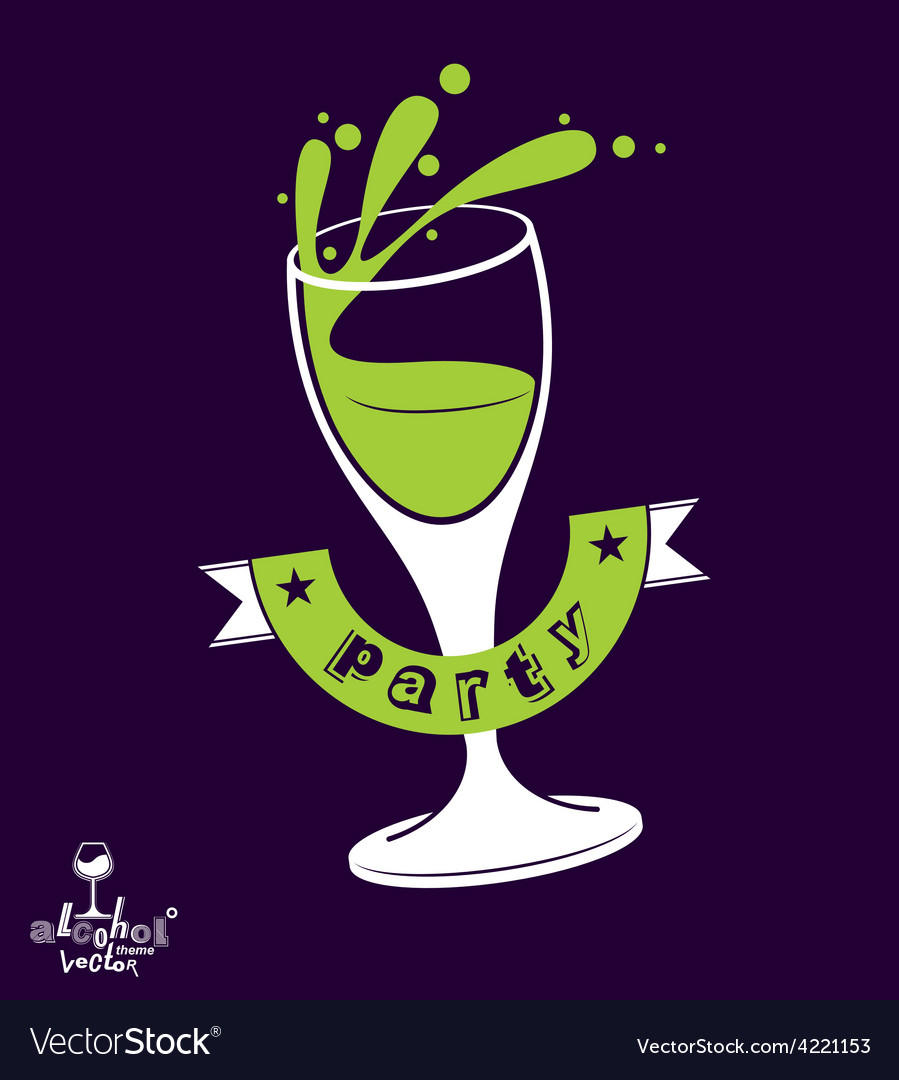 Alcohol theme art festive goblet with class vector | Price: 1 Credit (USD $1)