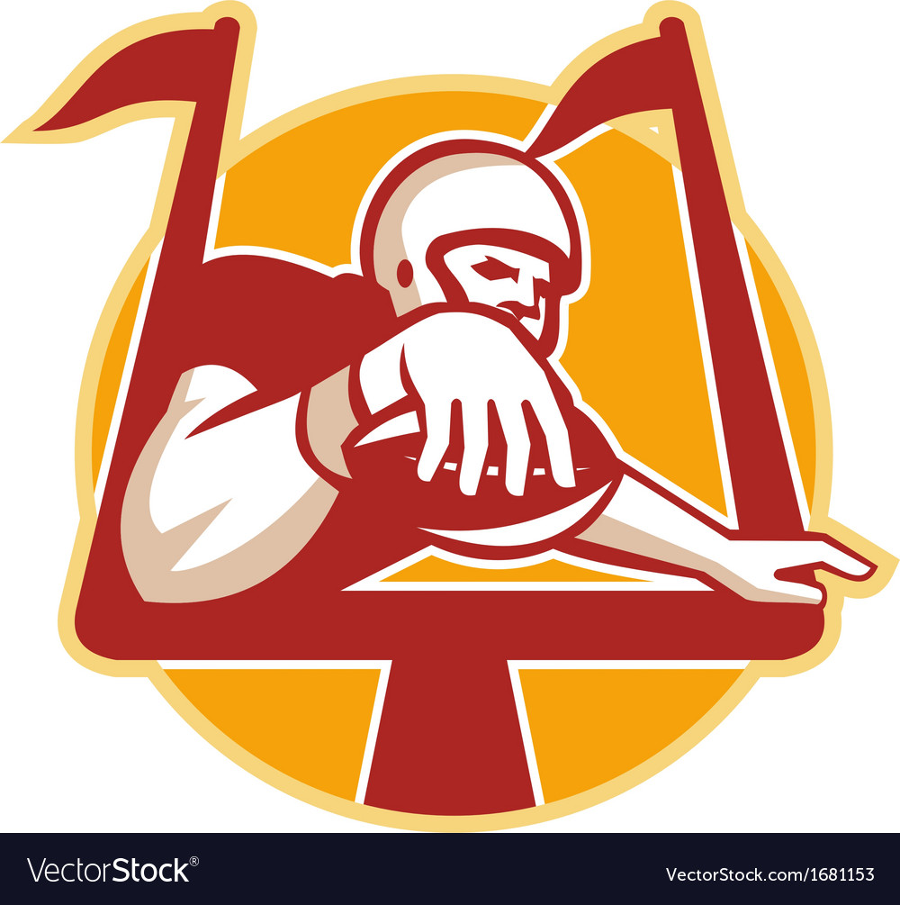 American football receiver scoring touchdown vector   Price: 1 Credit (USD $1)