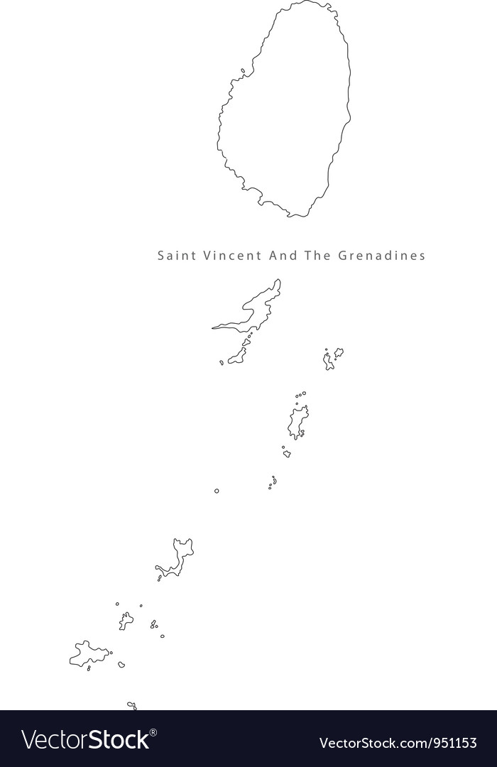 Black white saint vincent and the grenadines outli vector | Price: 1 Credit (USD $1)