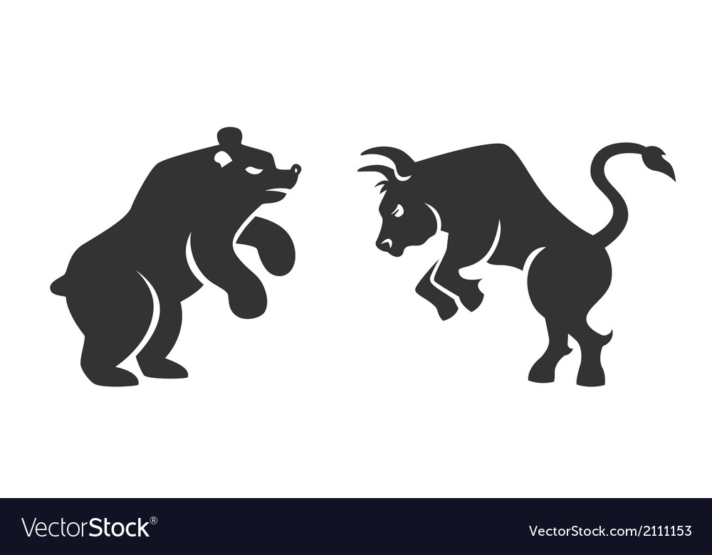 Bull and bear financial icons vector | Price: 1 Credit (USD $1)