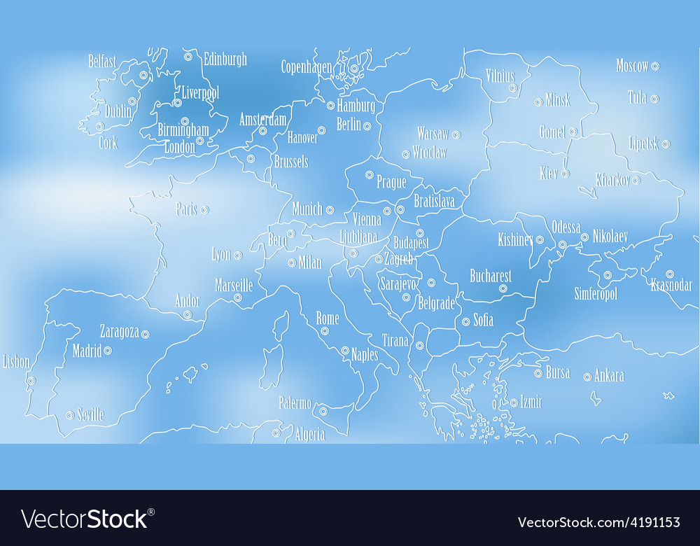 Creative map of europe vector | Price: 1 Credit (USD $1)