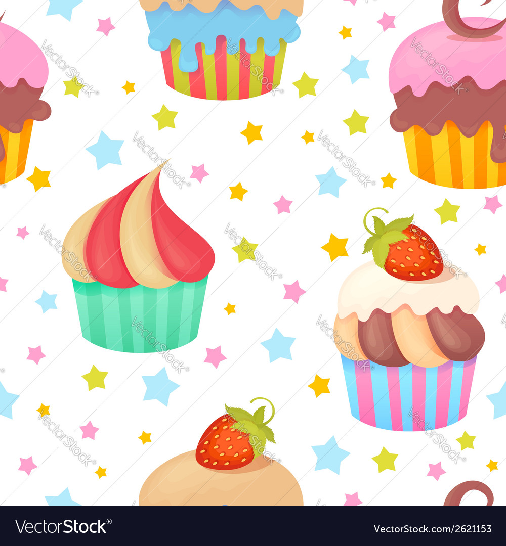 Cute colorful seamless pattern with muffins vector | Price: 1 Credit (USD $1)