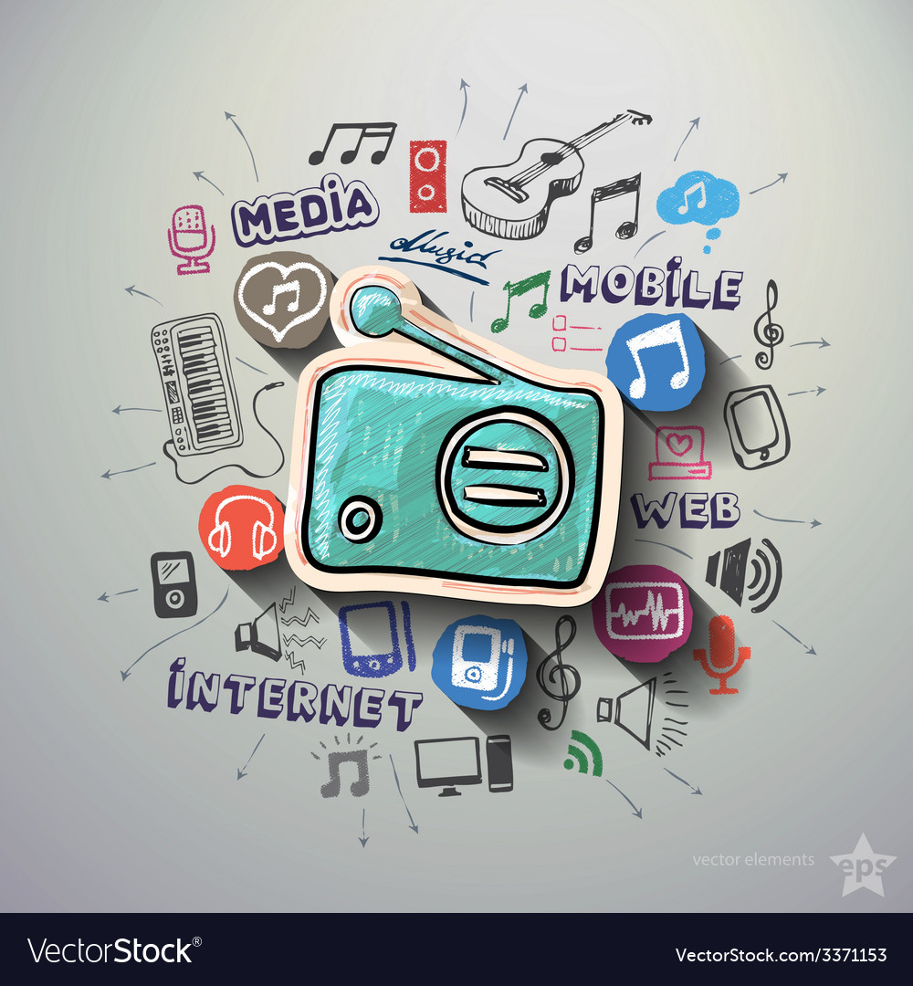 Entertainment and music collage with icons vector | Price: 3 Credit (USD $3)