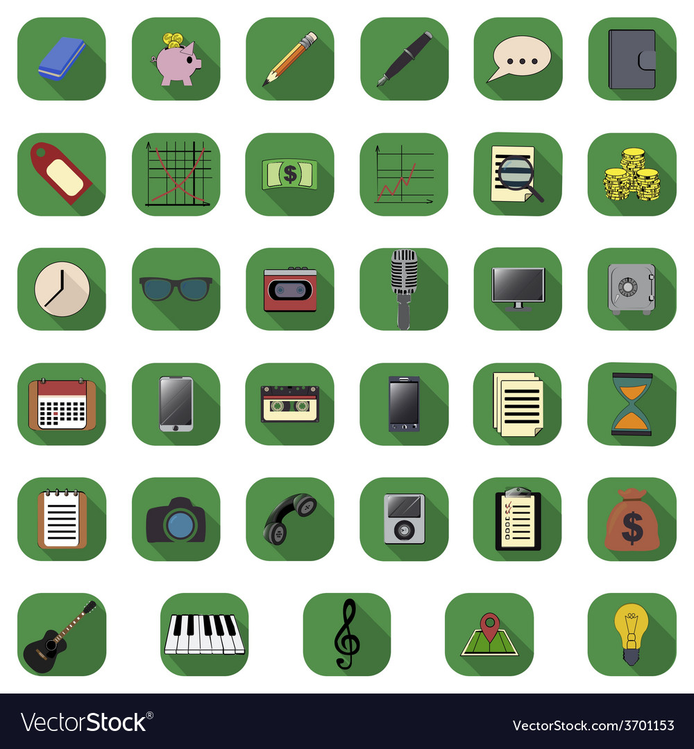 Flat icons set vector | Price: 1 Credit (USD $1)
