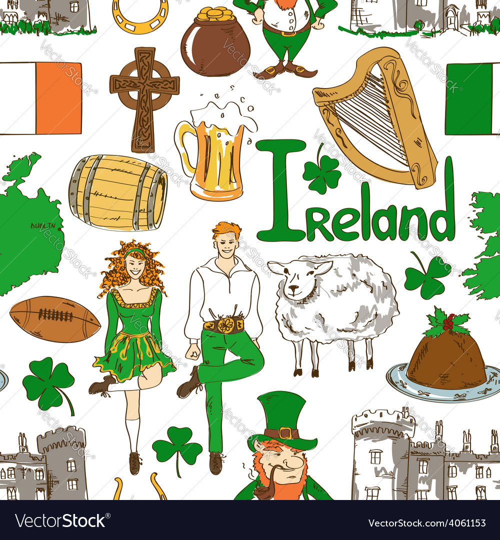 Irish symbols seamless pattern vector | Price: 1 Credit (USD $1)