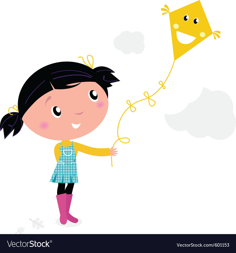 Kid flying a kite vector | Price: 1 Credit (USD $1)