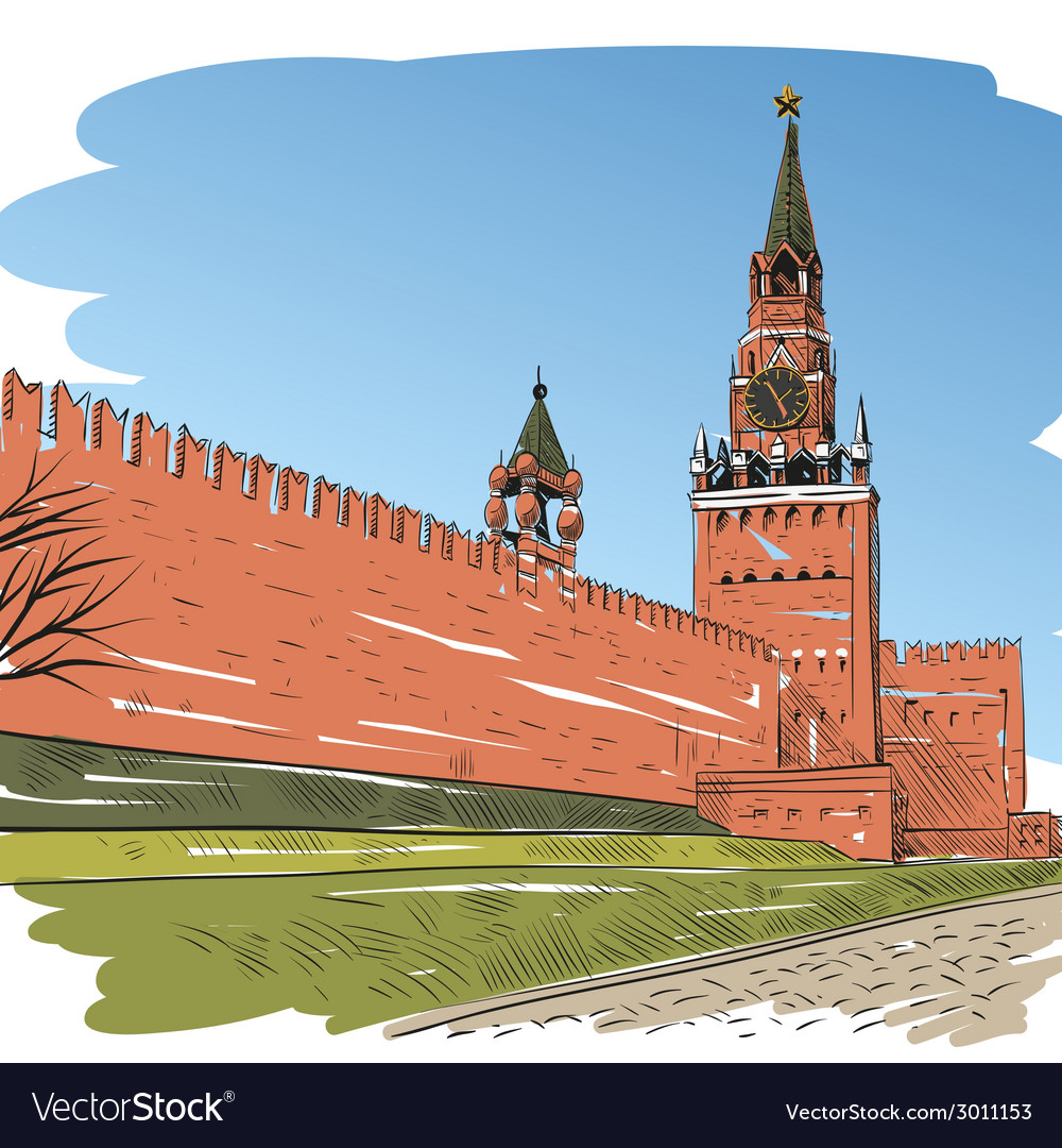Moscow red square drawing vector | Price: 1 Credit (USD $1)