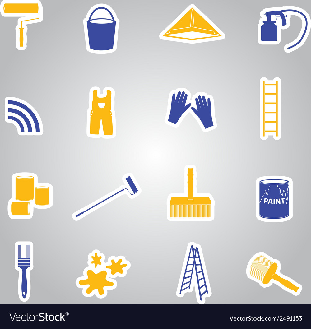 Paint stickers set eps10 vector | Price: 1 Credit (USD $1)