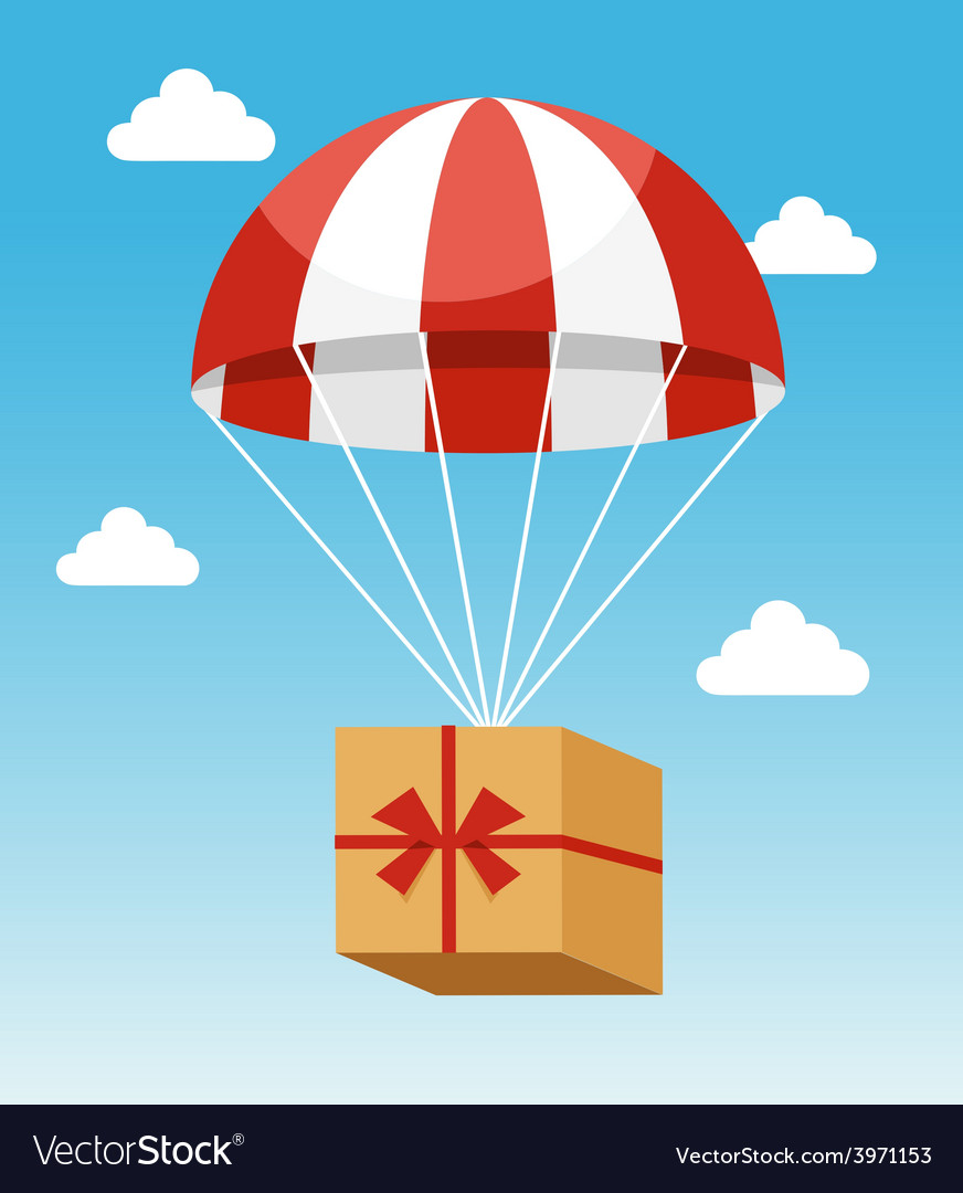 Red and white parachute holding delivery box vector | Price: 1 Credit (USD $1)