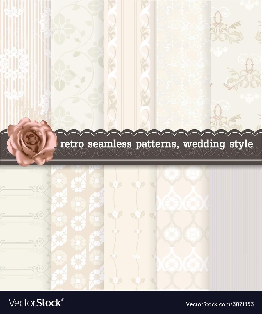Retro seamless patterns wedding style vector   Price: 1 Credit (USD $1)