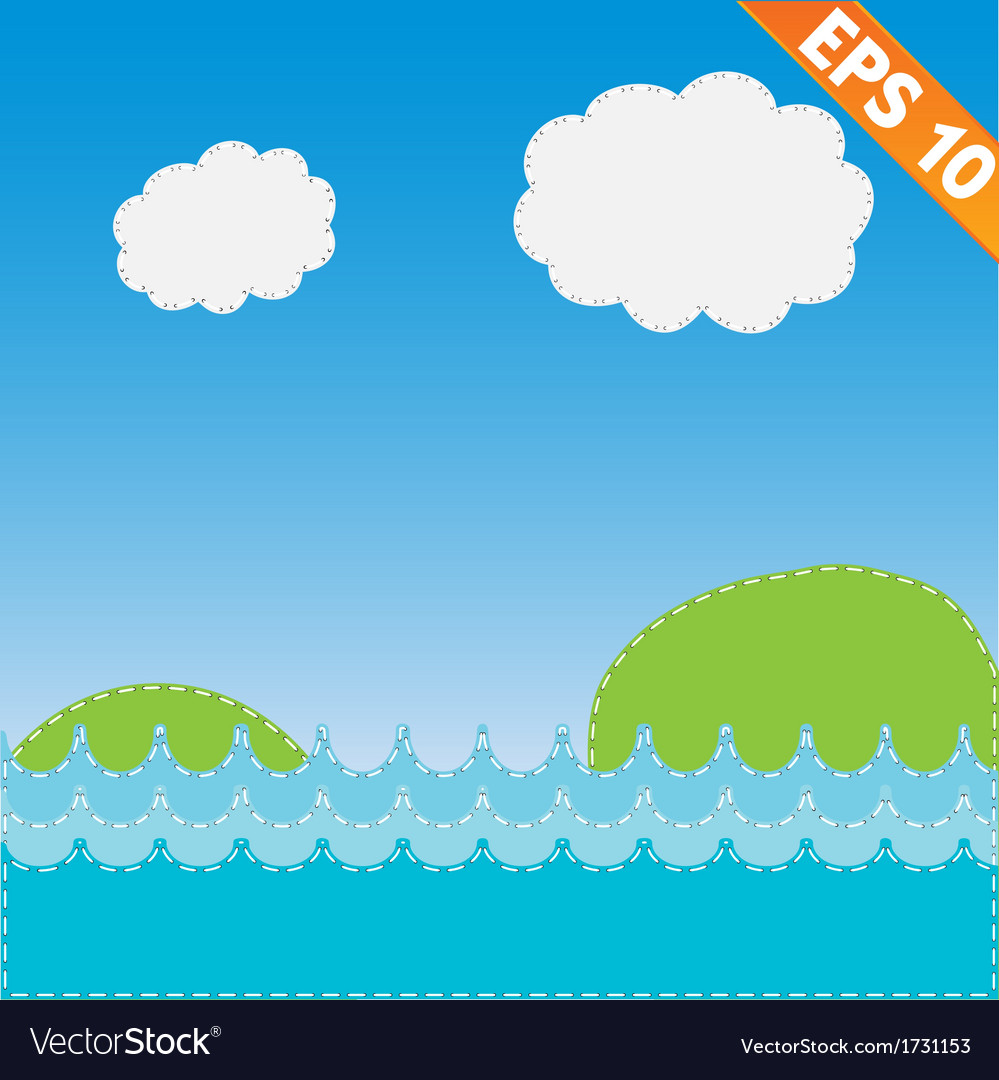 Sea landscape with stitch style background - vector | Price: 1 Credit (USD $1)