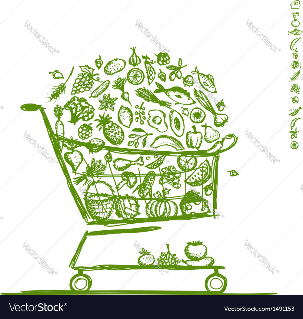 Shopping cart with healthy food for your design vector | Price: 1 Credit (USD $1)