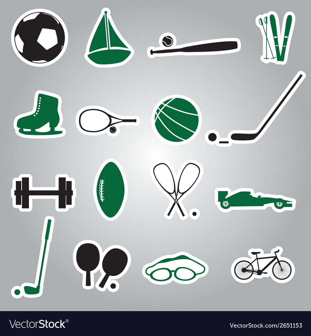 Sport equipment stickers eps10 vector | Price: 1 Credit (USD $1)
