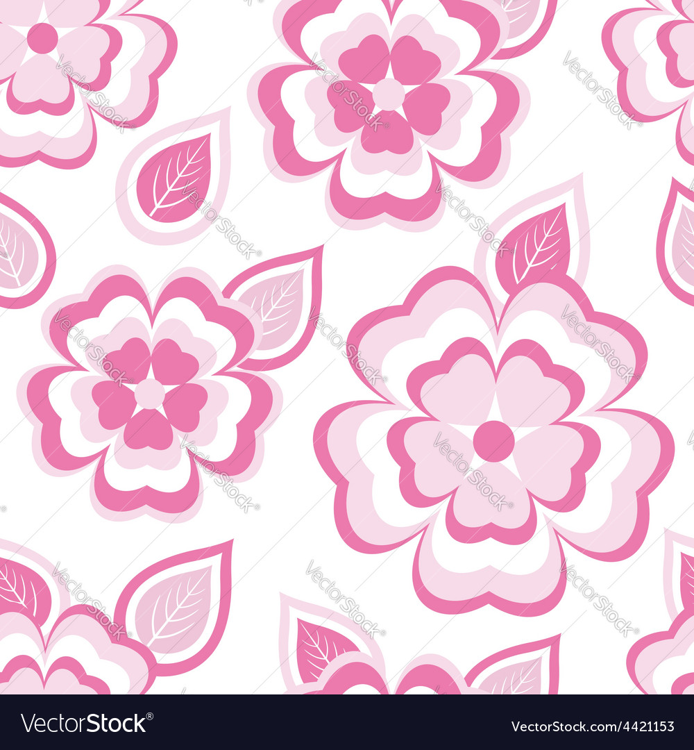 Texture seamless pattern with sakura and leaves vector | Price: 1 Credit (USD $1)