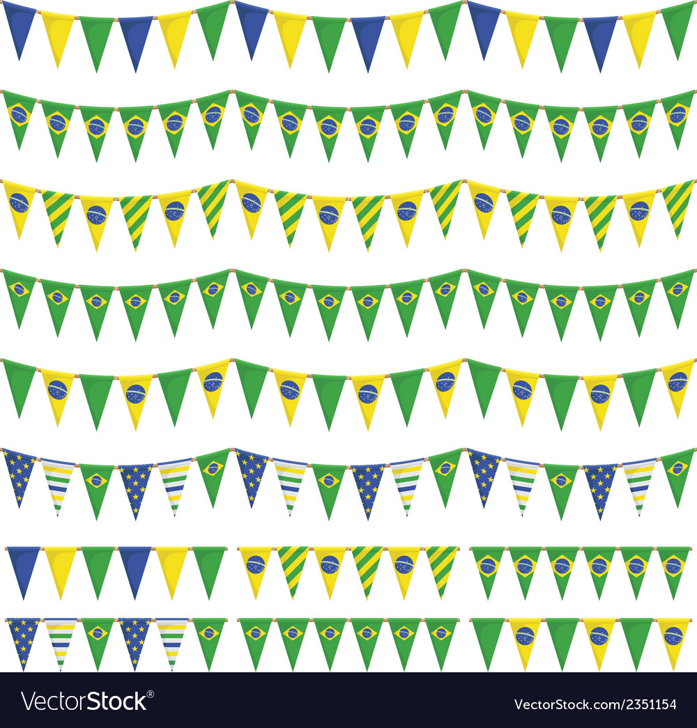 Brazil party bunting vector | Price: 1 Credit (USD $1)