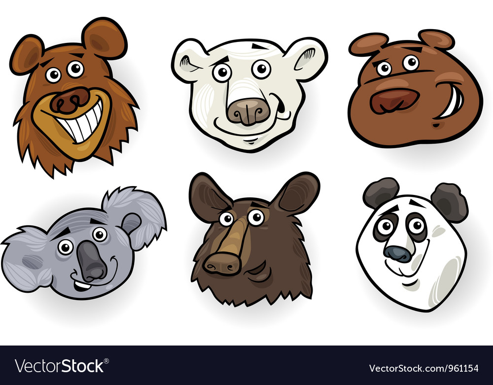 Cartoon bears heads set vector | Price: 3 Credit (USD $3)