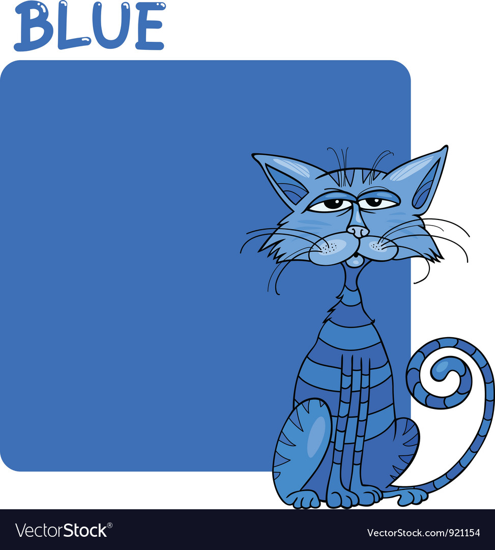 Color blue and cat cartoon vector | Price: 1 Credit (USD $1)