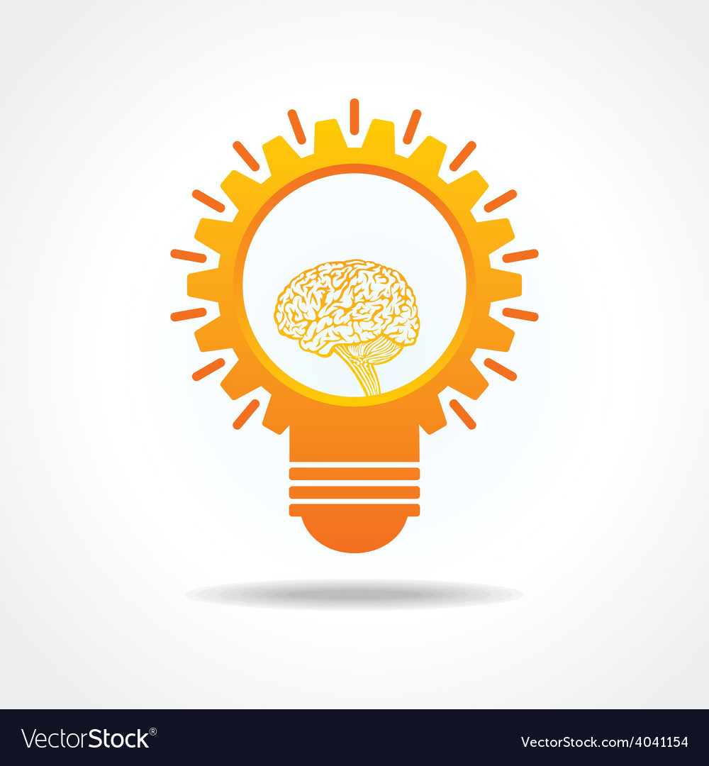Creative idea concept-lightbulb with gear and mind vector   Price: 1 Credit (USD $1)