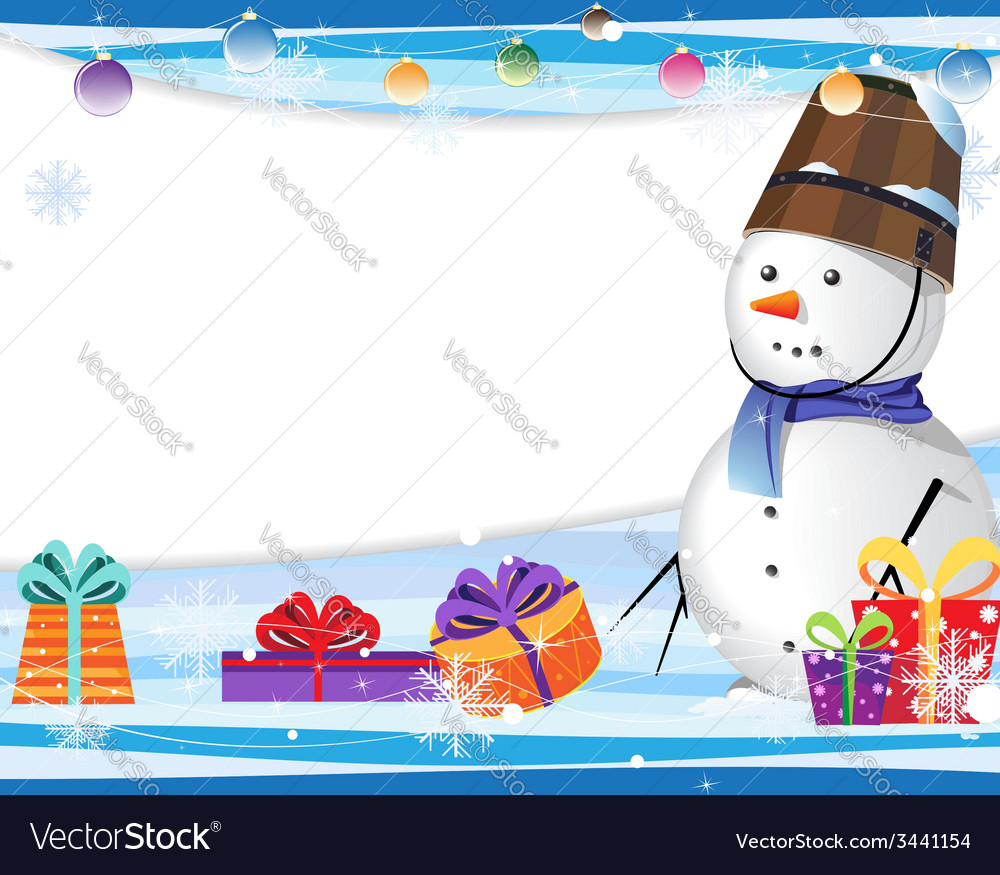 Cute snowman in a blue scarf vector | Price: 3 Credit (USD $3)