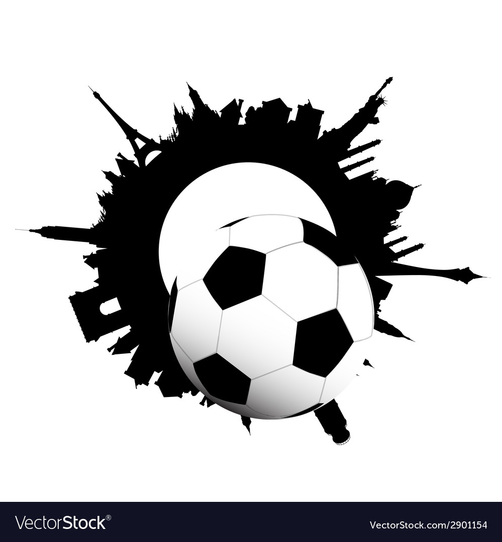 Football ball and building of city vector | Price: 1 Credit (USD $1)