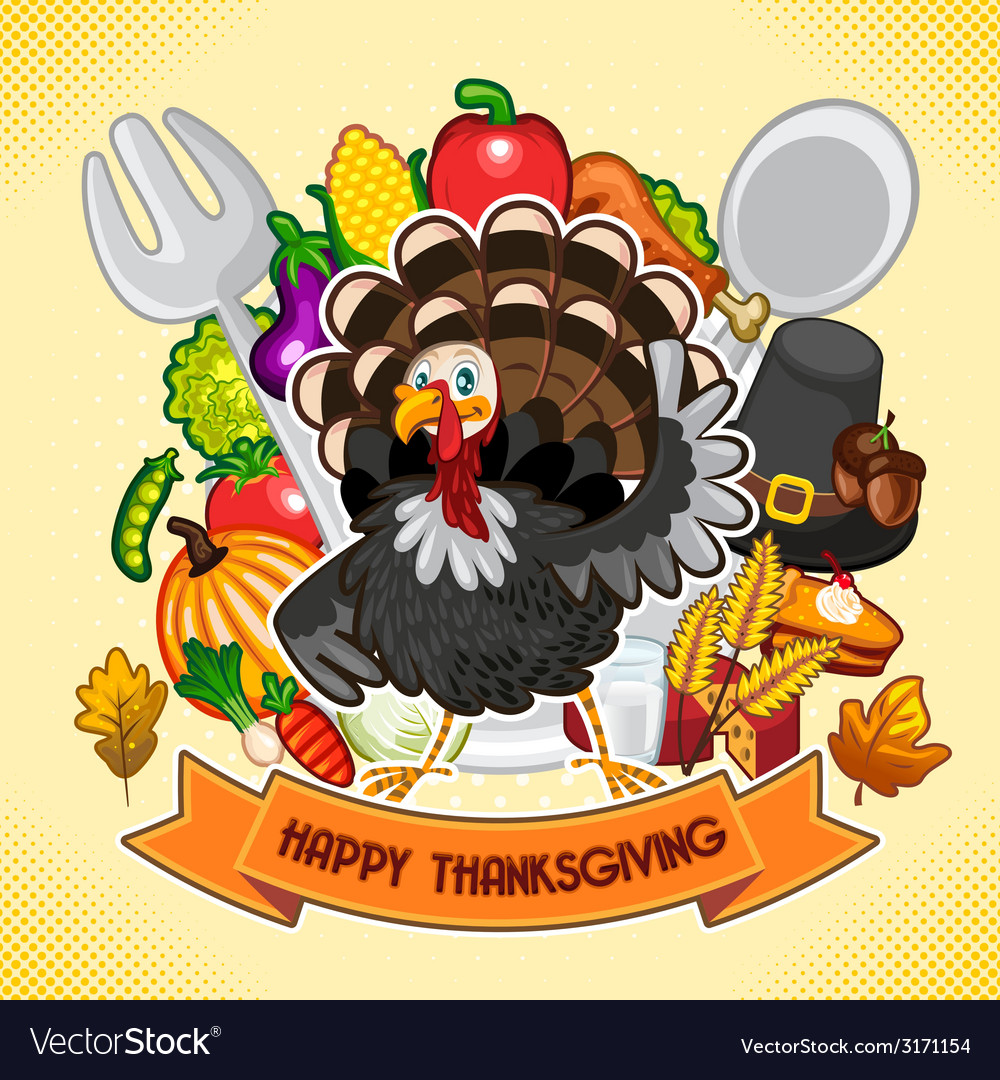 Happy thanksgiving turkey vector | Price: 1 Credit (USD $1)