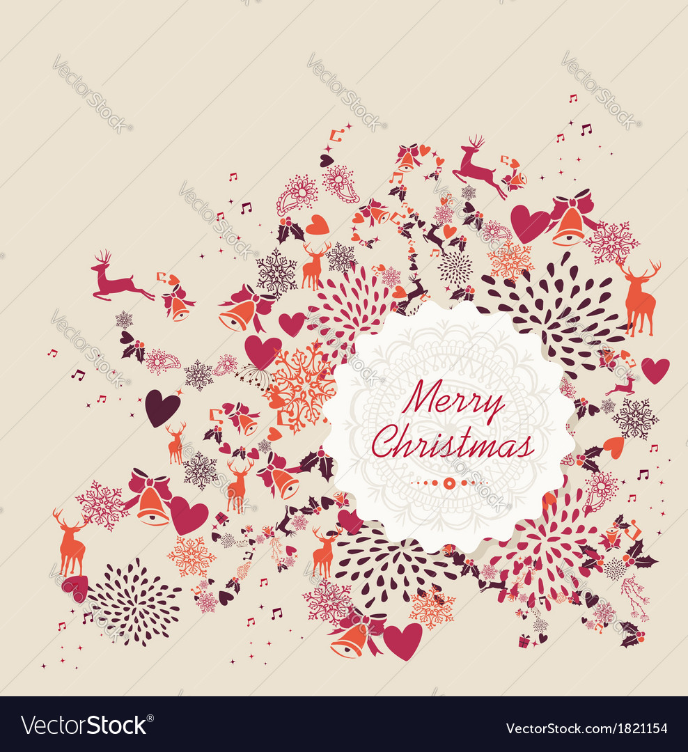 Merry christmas label text retro elements file vector | Price: 1 Credit (USD $1)