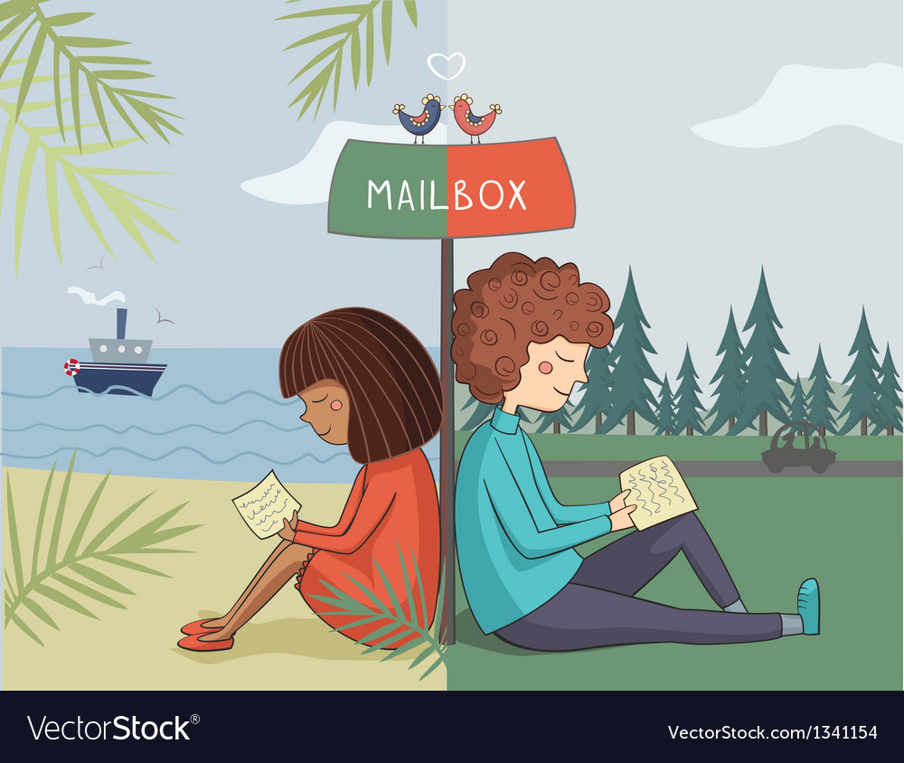 Multicultural girl and boy read mail vector | Price: 1 Credit (USD $1)