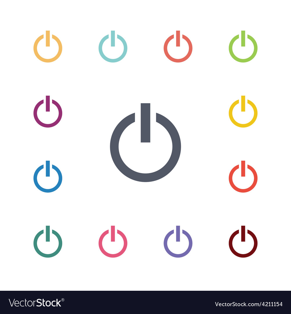 Power flat icons set vector | Price: 1 Credit (USD $1)