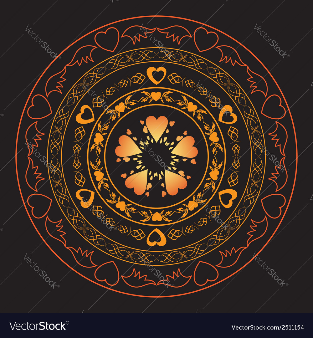 Romantic round ornament for design - vector | Price: 1 Credit (USD $1)