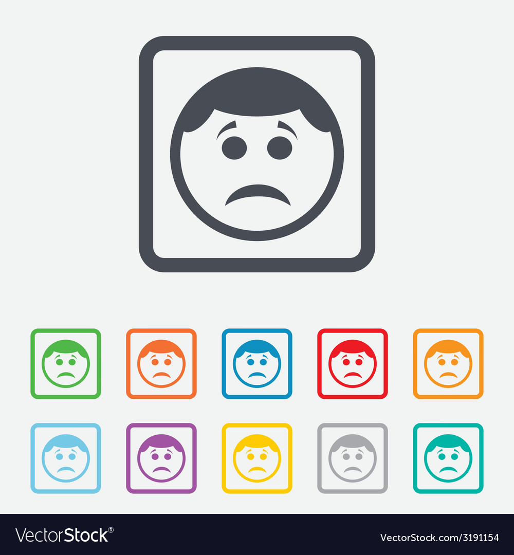 Sad face sign icon sadness symbol vector | Price: 1 Credit (USD $1)