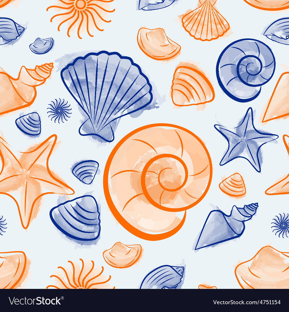 Seashell summer seamless pattern vector | Price: 1 Credit (USD $1)