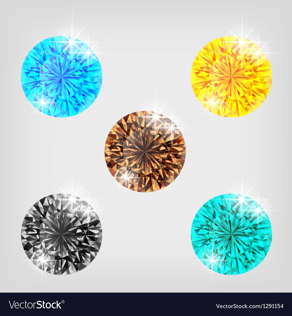 Set of five colored diamonds vector | Price: 1 Credit (USD $1)