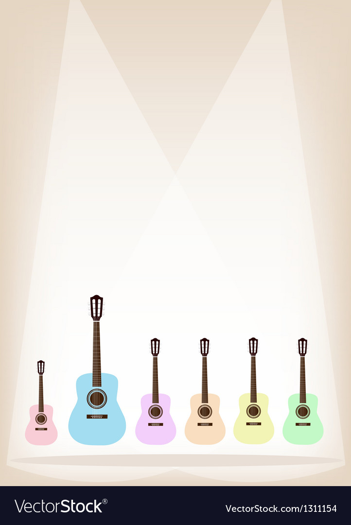 Six colorful guitar on brown stage background vector | Price: 1 Credit (USD $1)