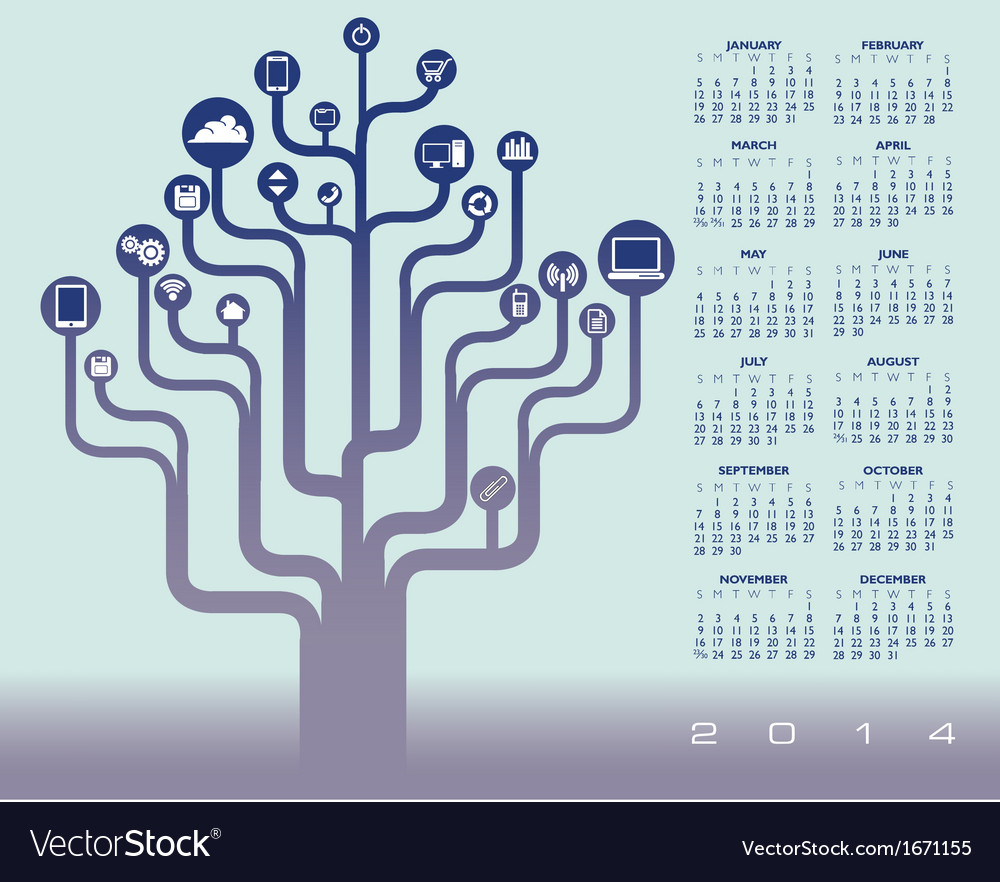 2014 icon tree calendar vector | Price: 1 Credit (USD $1)