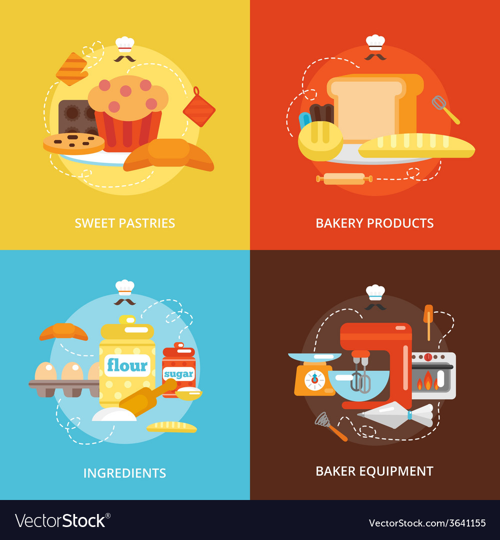 Bakery flat icons set vector | Price: 1 Credit (USD $1)