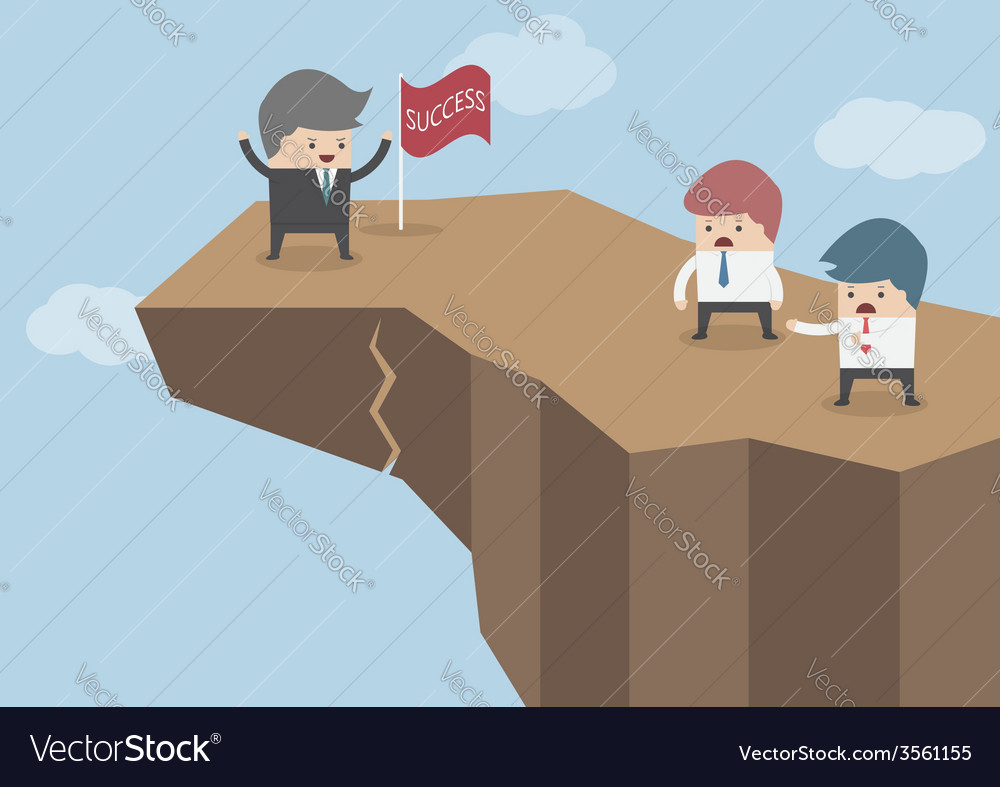 Businessman standing on the top of the dangerous c vector | Price: 1 Credit (USD $1)